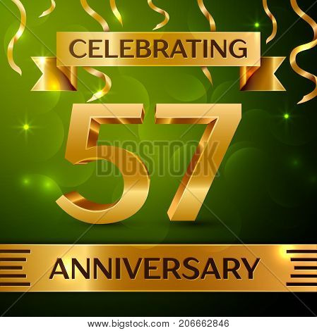 Realistic Fifty seven Years Anniversary Celebration Design. Confetti and gold ribbon on green background. Colorful Vector template elements for your birthday party. Anniversary ribbon