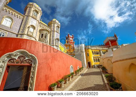 Pena National Palace, in Portuguese Palacio da Pena, Municipality of Sintra, Portugal. The Castle is a National Monument, Unesco Heritage and one of Seven Wonders of Portugal.