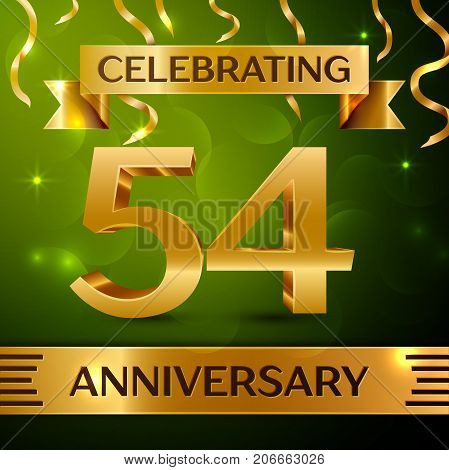 Realistic Fifty four Years Anniversary Celebration Design. Confetti and gold ribbon on green background. Colorful Vector template elements for your birthday party. Anniversary ribbon
