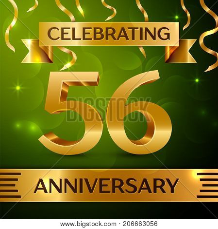 Realistic Fifty six Years Anniversary Celebration Design. Confetti and gold ribbon on green background. Colorful Vector template elements for your birthday party. Anniversary ribbon