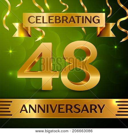 Realistic Forty eight Years Anniversary Celebration Design. Confetti and gold ribbon on green background. Colorful Vector template elements for your birthday party. Anniversary ribbon