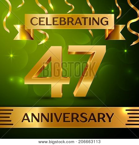 Realistic Forty seven Years Anniversary Celebration Design. Confetti and gold ribbon on green background. Colorful Vector template elements for your birthday party. Anniversary ribbon