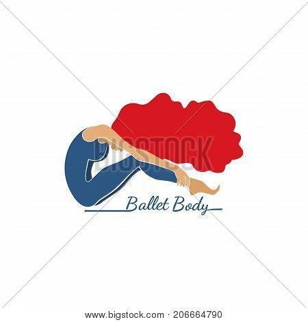 Dance icon concept. Ballet studio logo design template. Flat colorful style. Fitness dance class banner background with symbol of abstract female dancer ballerina in dancing pose. Vector illustration
