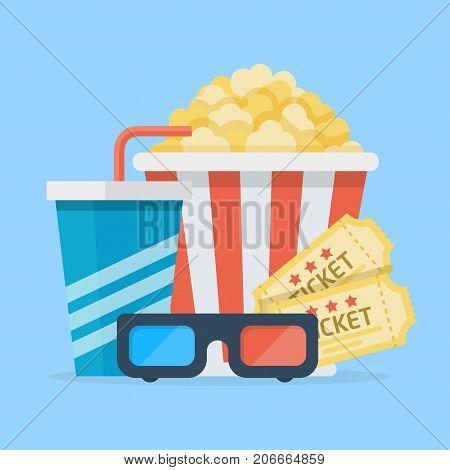 Cinema set illustration. Film lovers snack, movie fun and entertainment. Vector flat style cartoon illustration isolated on light blue background