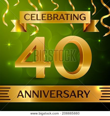 Realistic Forty Years Anniversary Celebration Design. Confetti and gold ribbon on green background. Colorful Vector template elements for your birthday party. Anniversary ribbon