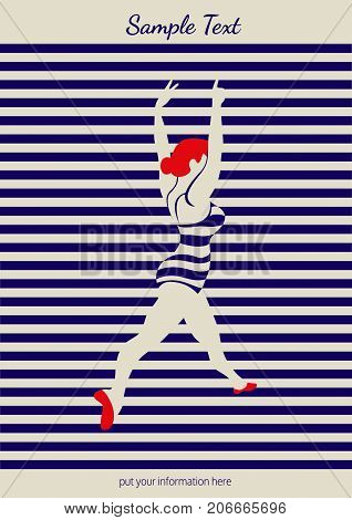 Dance icon concept. Ballet studio design template. Flat pop art style. Fitness dance class banner background with symbol of abstract female dancer ballerina in dancing pose. Vector illustration