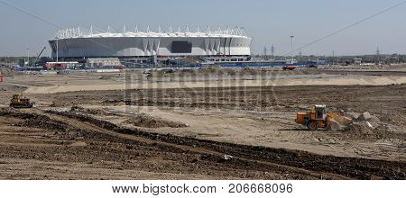 Rostov-on-DonRussia -September 302017: Construction of the territory near the stadium for the 2018 FIFA World Cup
