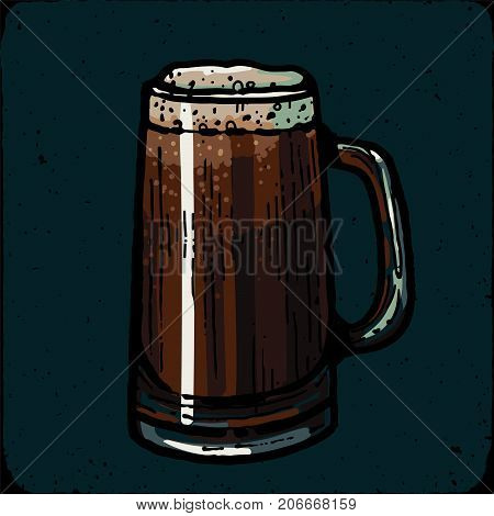 Retro style beer mug, cup or glass engraving. Porter, stout, red ale Local brewery. Vintage vector engraving illustration for web, poster, label, invitation to oktoberfest festival, party. Beer pint sketch style illustration. Old engraving imitation. Beer