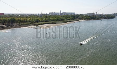 The flow of water in the river Don during a strong wind. Rostov-on-Don