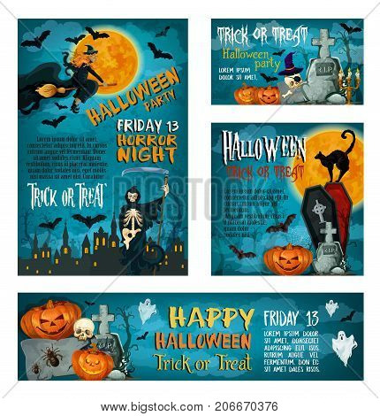 Halloween banner set of autumn holiday and horror party poster template. Halloween pumpkin and ghost, bat and witch, spooky skeleton on cemetery, haunted house and black cat for greeting card design