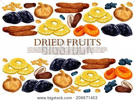 Dried fruits poster template of sweet dry fruit snacks. Vector dried raisins, prunes or apricot and dates in sweet mix of figs, pineapple or cherry and desserts for fruit shop or market