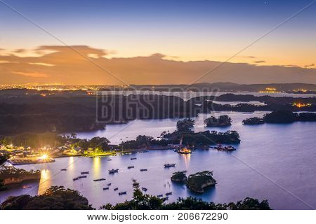 Matsushima, Japan coastal landscape from Mt. Otakamori.