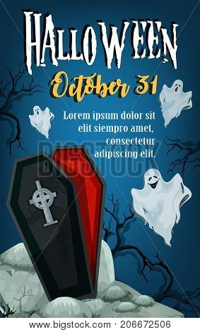 Halloween spooky night party invitation poster or greeting card of scary ghost and creepy coffin for zombie monster. Vector tombstone on grave for Halloween 31 October trick or treat holiday design