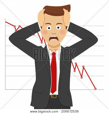 Desperate young businessman, financial crisis concept. Falling of quotations at stock exchanges on white