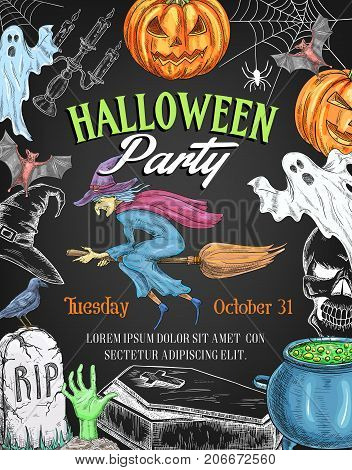 Halloween party invitation poster of pumpkin lantern, witch on broom and spooky ghost. Vector sketch horror design of Halloween trick or treat night graveyard, zombie hand and tomb or potion cauldron