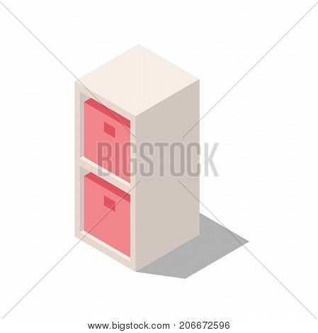 wardrobe with shelves for document storage, shelves with drawers, interior items for home and office isometric
