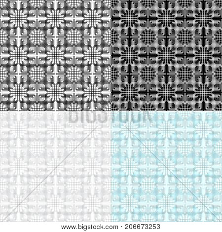 Set of 4 seamless geometric patterns. Swatches are included. Appropriate for textile, packing materials, website backgrounds.