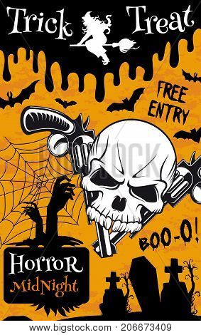 Halloween trick or treat night party poster template. Spooky skeleton skull, witch on broom and bat, creepy graveyard with spider web and zombie banner for Halloween holiday invitation flyer design