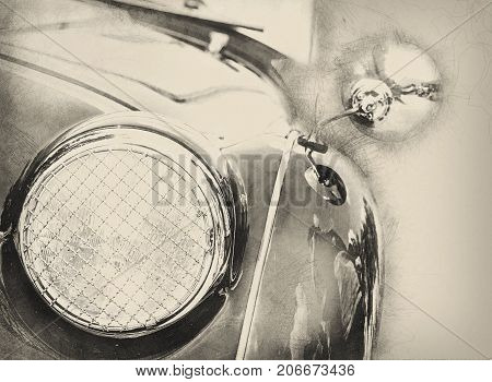 Detail view of the headlight. Illustration of retro car. Front light. Circle headlamp. Pencil drawing.