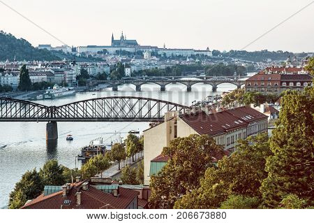 View from the Vysehrad to the castle and river Vltava with bridges Prague Czech republic. Travel destination. Transition photo filter.
