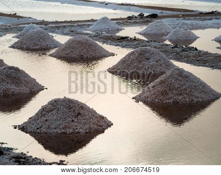 Salt production in Santa Maria salt ponds in Cape Verde