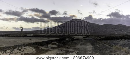Field used for traditional salt cultivation in Los Cocoteros, Guatiza, Lanzarote, Canary Islands