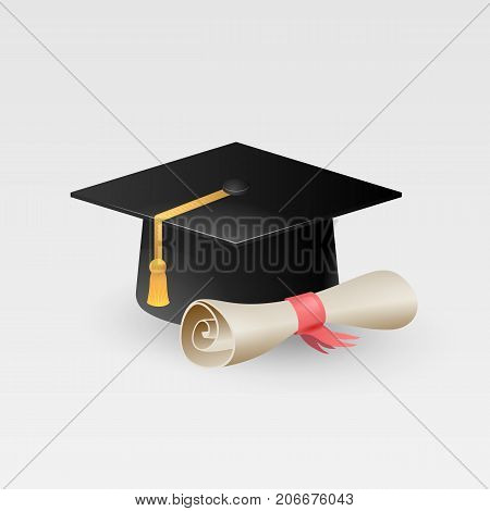 Graduation cap with paper scroll diploma vector isolated on white background, graduation hat with tassel icon, academic cap, vector illustration