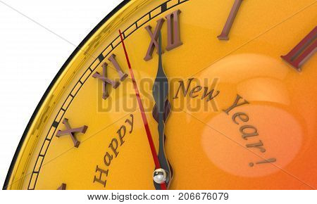 Christmas symbol and metaphor (the orange clock). Happy New Year. Black background. 3D illustration
