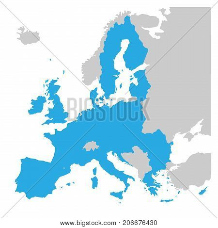 European Union territory blue silhouette. Map of EU. Vector illustration.