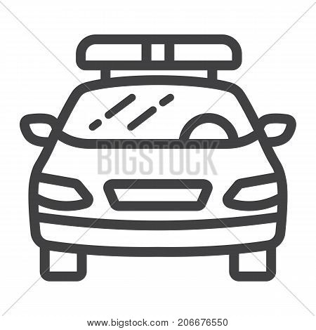 Police car line icon, transport and automobile, cop sign vector graphics, a linear pattern on a white background, eps 10.