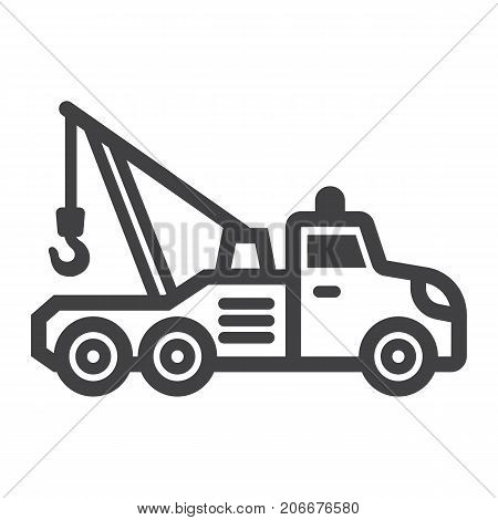 Tow truck line icon, transport and vehicle, service sign vector graphics, a linear pattern on a white background, eps 10.