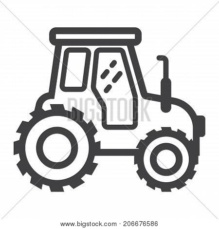 Tractor line icon, transport and vehicle, agriculture sign vector graphics, a linear pattern on a white background, eps 10.