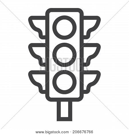 Traffic light line icon, stoplight and navigation, regulation sign vector graphics, a linear pattern on a white background, eps 10.