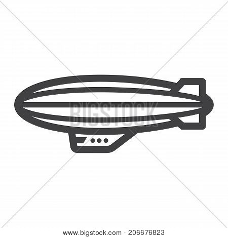 Airship blimp line icon, transport and air vehicle, sky balloon sign vector graphics, a linear pattern on a white background, eps 10.