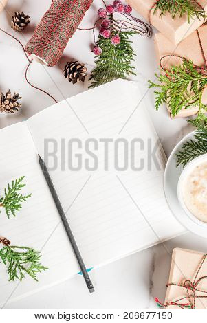 Preparation For Christmas With Coffee And Gifts