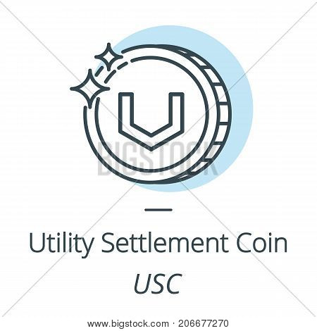 Utility settlement coin USC cryptocurrency coin line, icon of virtual currency vector