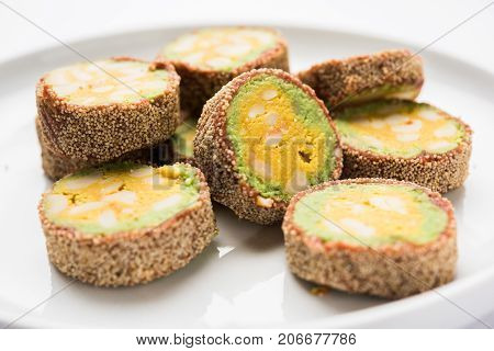 stock photo of Anjeer burfi or Indian sweet made using fig, selective focus