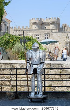 RHODES, GREECE - AUGUST 2017: Sculpture of medieval knight in Rhodes town on Rhodes island, Greece