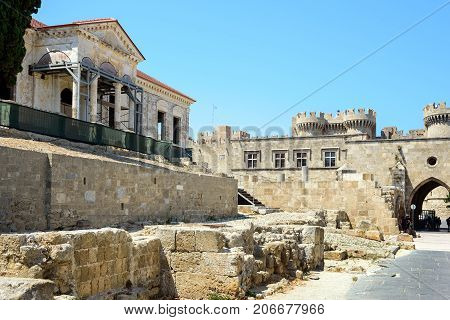 Old building ruins in castle of Rhodes town on Rhodes island, Greece