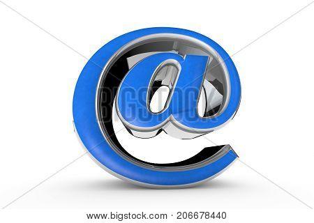 E-mail blue symbol. Isolated over white. 3D illustration rendering. White background.