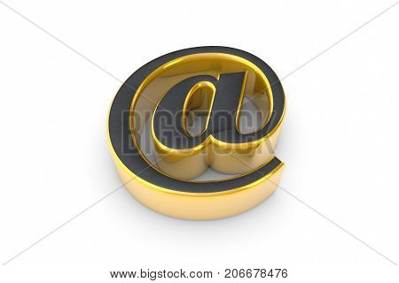 E-mail grey&gold symbol. Isolated over white. 3D illustration rendering.