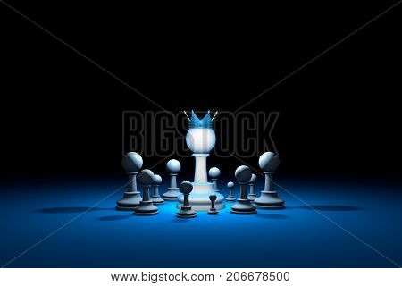 Great authority. Leader. Chess composition. Background layout with free text space. 3D illustration render