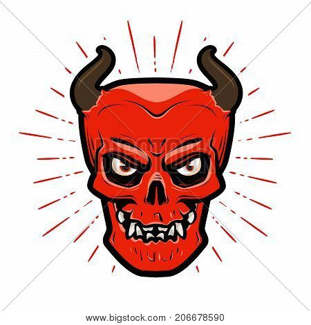 Angry devil. Halloween, satan, lucifer hell devilry symbol Cartoon vector