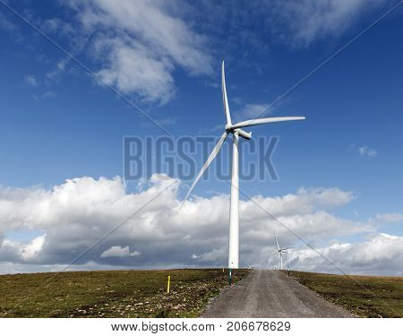 Wind Turbine in a horizontal format with an access road