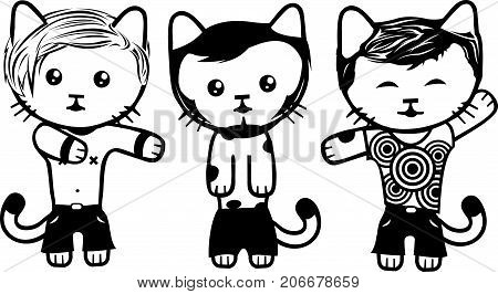 Detailed vector art with modern fashionable dressed cats. Part 2