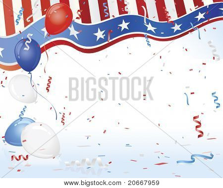 Patriotic USA Flag and Balloons