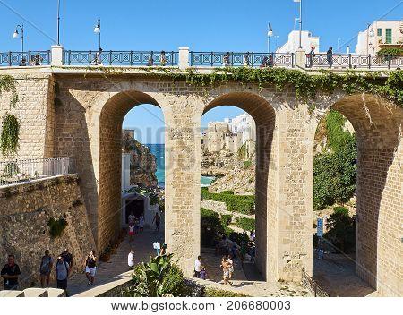 Ponte Di Polignano A Mare Bridge. Apulia, Italy.