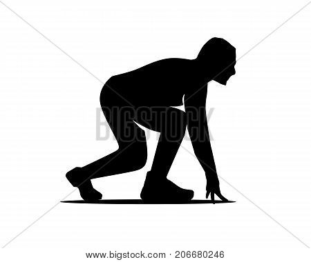 athlete start to run silhouette, person getting ready to run, silhouette design, isolated on white background.