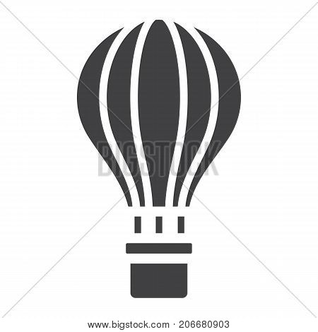 Hot air balloon glyph icon, transport and air vehicle, travel sign vector graphics, a solid pattern on a white background, eps 10.