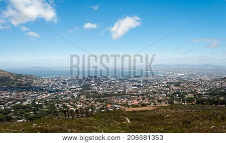 View of Cape town south africa and the ocean from the heights of table mountain